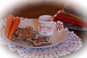 Santa cup with carrots and ginger bread cookies.