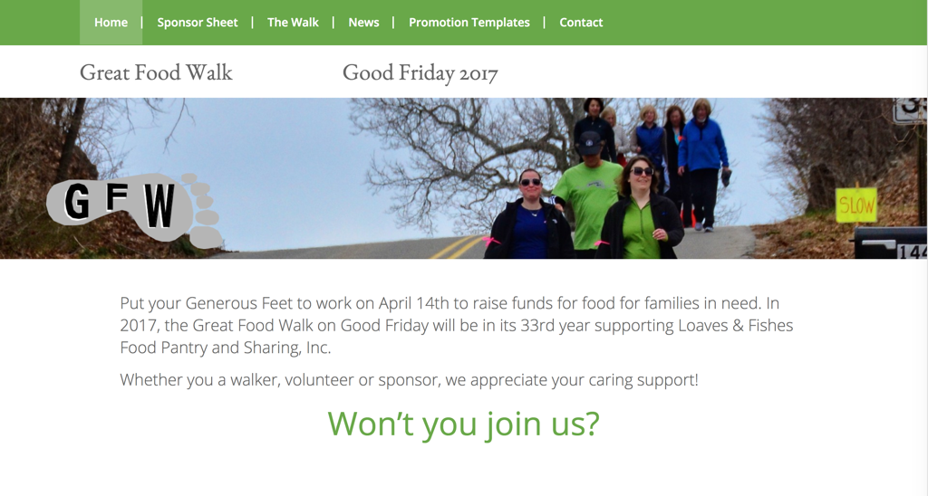 Screenshot of a Charity Walk Website