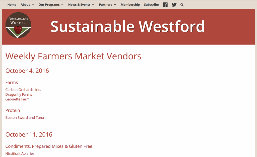 Screenshot of a Farmers Market Website