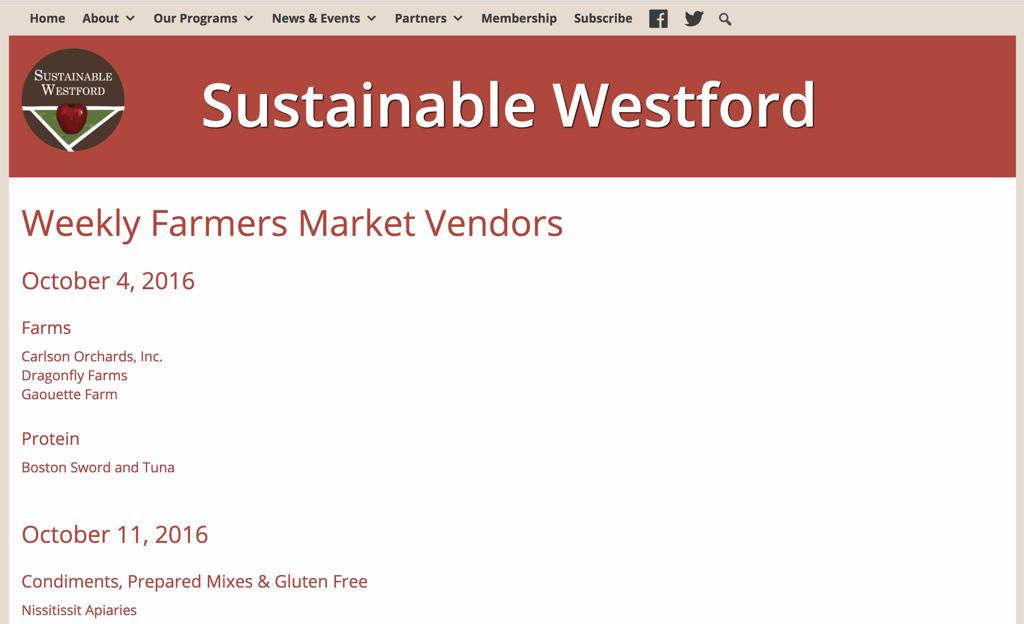 Screenshot of a Farmers Market Website