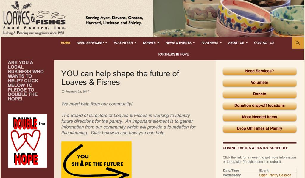 Screenshot of a food pantry website