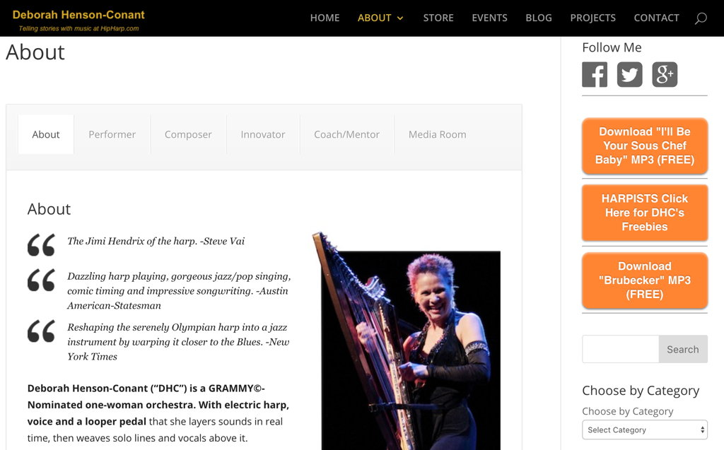 Screenshot of a musician's website