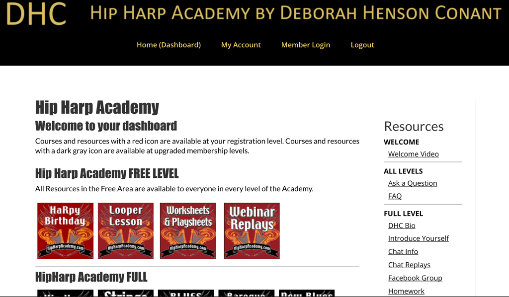 Screenshot of an online school website