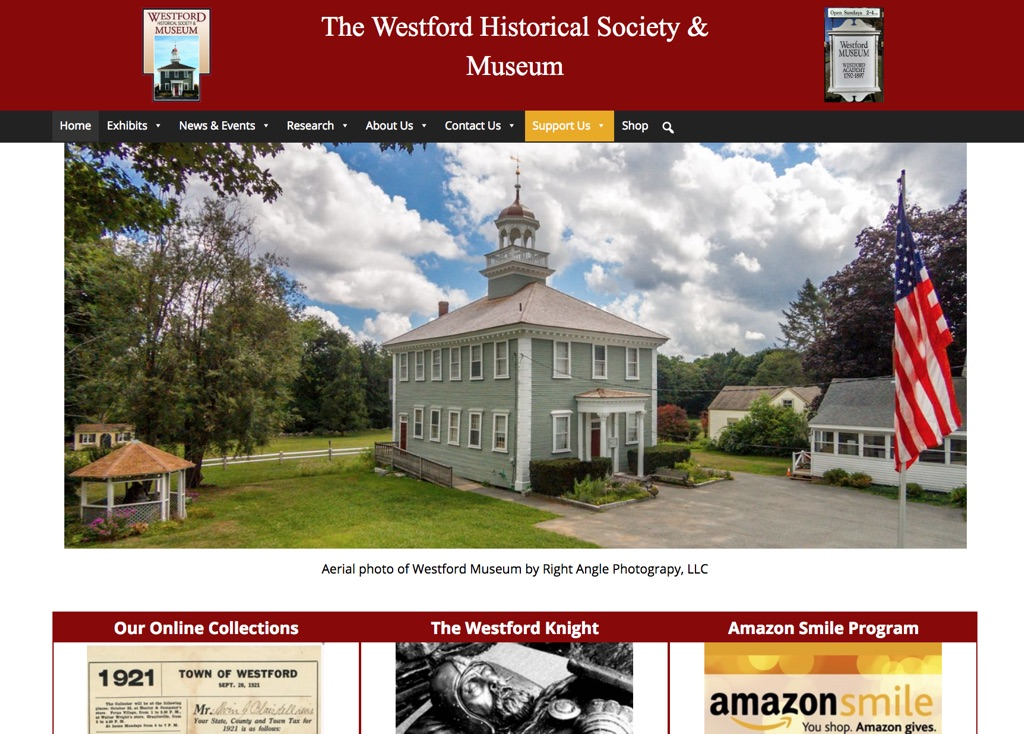 Screenshot of Westford Historical Society & Museum's new website